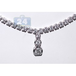 18K White Gold 3.14 ct Diamond Drop Womens Tennis Necklace