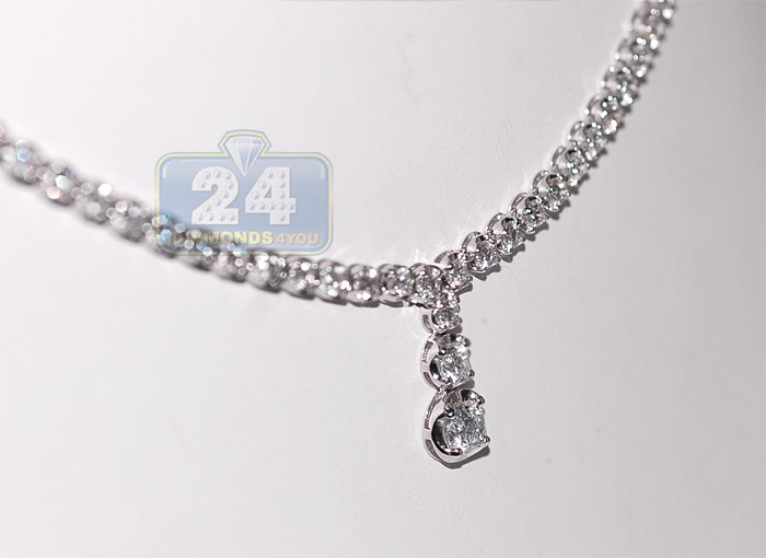 18k white gold 314 ct diamond drop womens tennis necklace aloadofball Gallery