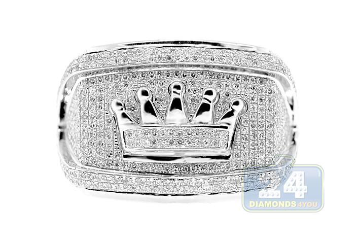 aa1667ef88215 10K White Gold Mens 1.28 ct Diamond Crown Symbol Ring