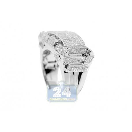 10K White Gold 1.06 ct Diamond Mens Rectangle Signet Ring