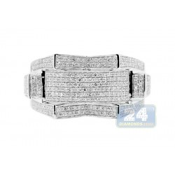 10K White Gold Mens 0.98 ct Diamond Signet Ring