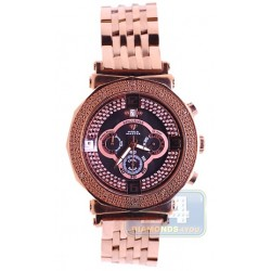 Aqua Master Exclusives Rose Gold Steel Diamond Mens Bracelet Watch