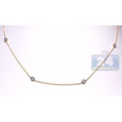 14K Yellow Gold 0.48 ct Diamonds by the Yard Style Womens Necklace 16 Inches