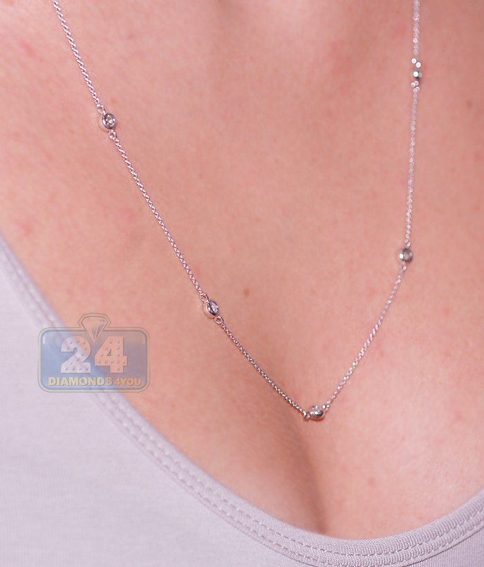 14k White Gold 1 10 Ct Diamonds By The Yard Style Necklace