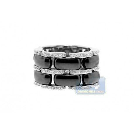 14K White Gold Black Ceramic 0.48 ct Diamond Womens Band Ring