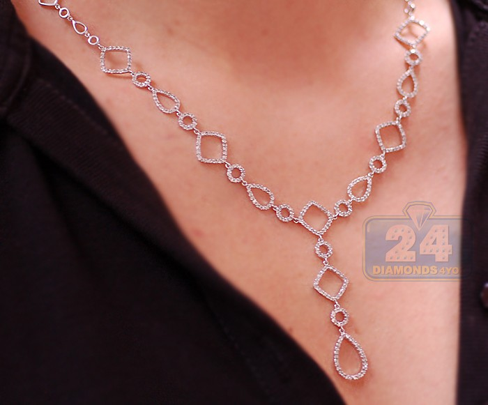 Womens Diamond Geometric Lariat Necklace 14k White Gold 2 45ct
