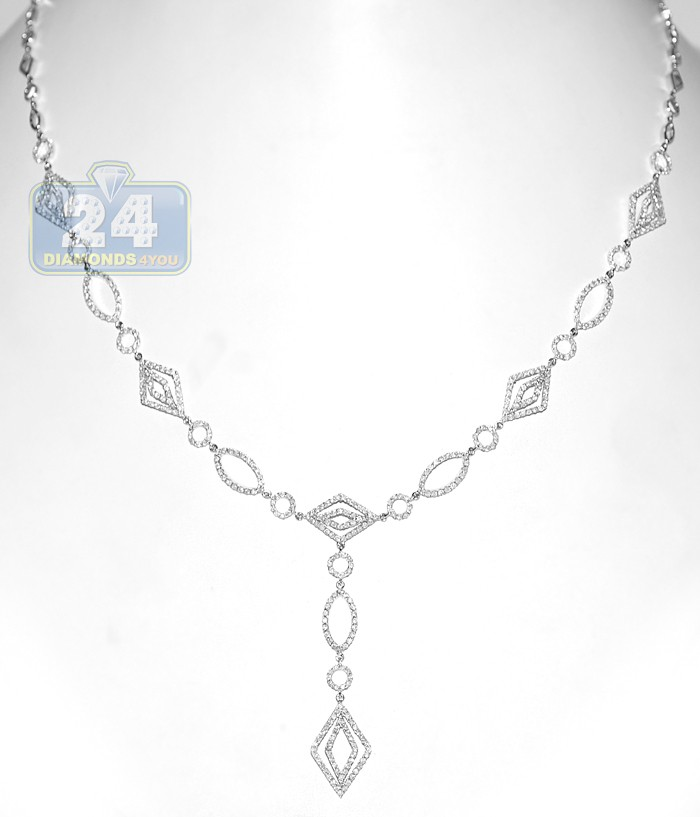 14k White Gold 2 99 Ct Diamond Womens Geometric Necklace