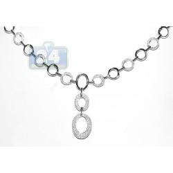 14K White Gold 1.60 ct Diamond Womens Chain Necklace