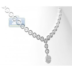 18K White Gold 1.57 ct Diamond Womens Chain Necklace