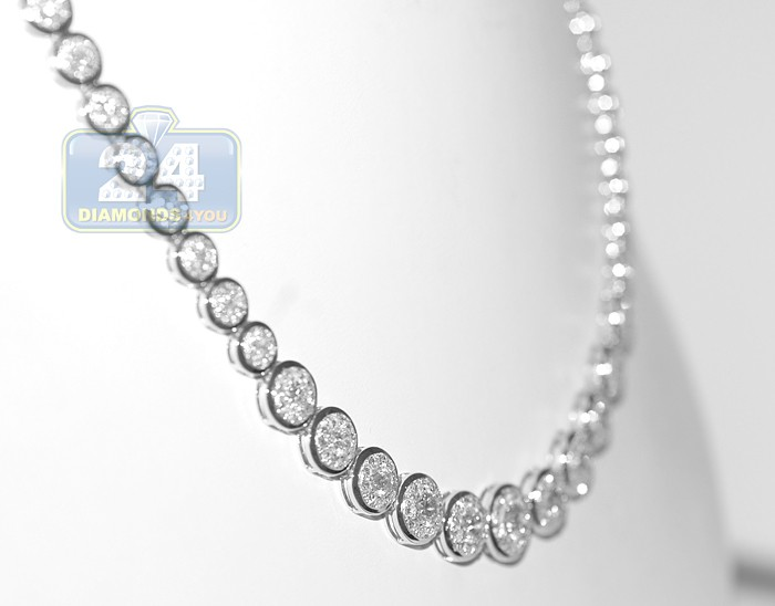 14k white gold ct diamond womens chain necklace. Black Bedroom Furniture Sets. Home Design Ideas