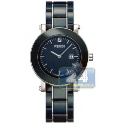Fendi Blue Ceramic Round Womens Watch F643130