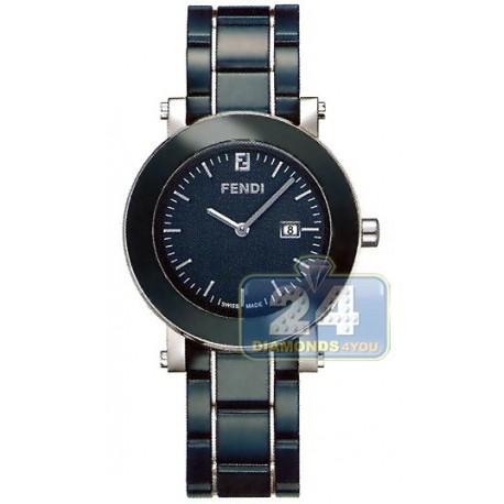 F643130 Fendi Blue Ceramic Round Womens Bracelet Watch 38mm