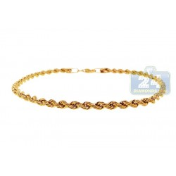 Real Italian 10K Yellow Gold Hollow Rope Mens Bracelet 3mm 8""