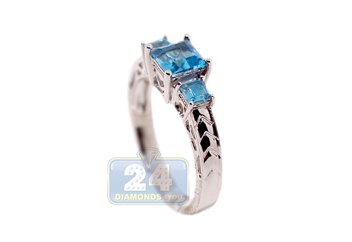 Womens 1 27 Ct 3 Stone Blue Topaz Filigree Ring 14k White Gold