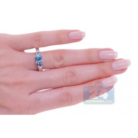 14K White Gold 1.27 ct 3 Stone Blue Topaz Womens Filigree Ring