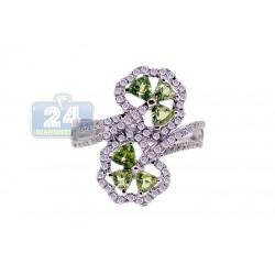 14K White Gold 1.18 ct Diamond Tourmaline Womens Ring