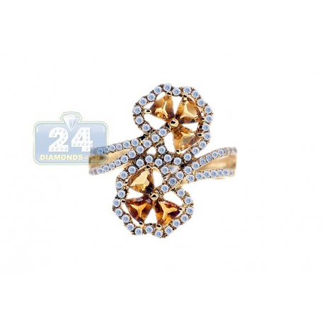 14K Yellow Gold 1.19 ct Diamond Citrine Womens Bypass Flower Ring