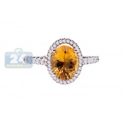 14K White Gold 1.68 ct Citrine Diamond Womens Ring
