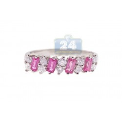 14K White Gold 1.00 ct Pink Sapphire Diamond Womens Band Ring