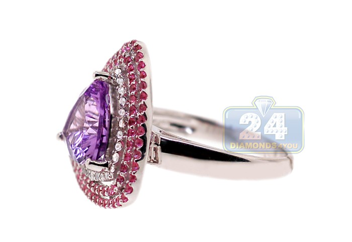 Amethyst Ruby Diamond Triple Halo Cocktail Ring 14k White Gold