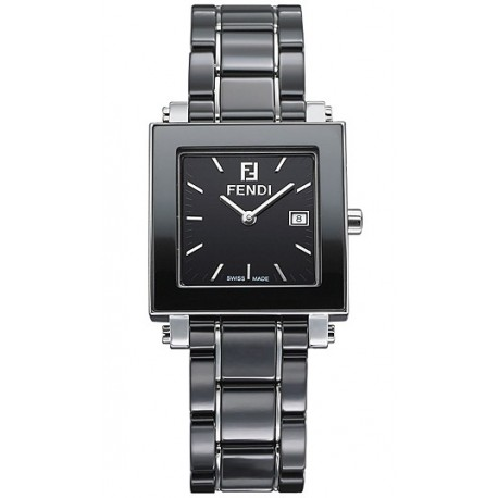 F621110 Fendi Black Ceramic Square Womens Bracelet Watch 30mm