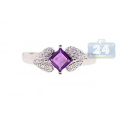 14K White Gold 0.43 ct Amethyst Diamond Womens Ring