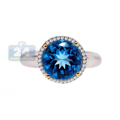 14K White Gold 4.29 ct Blue Topaz Diamond Halo Womens Cocktail Ring