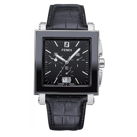 F651111 Fendi Black Ceramic Square Chronograph Watch 38mm