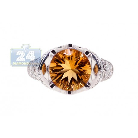 14K White Gold 1.54 ct Yellow Citrine Diamond Womens Cocktail Ring