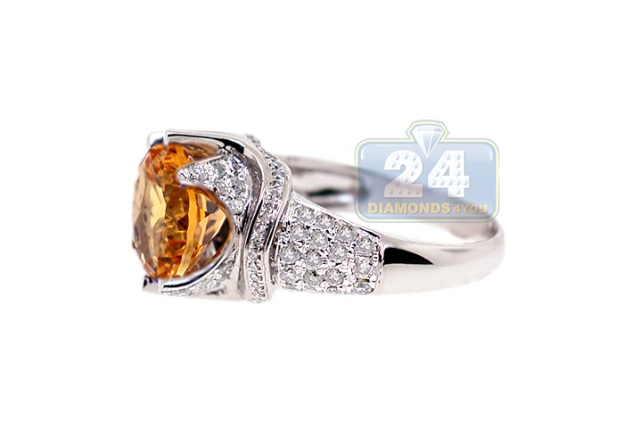 Womens Yellow Citrine Diamond Cocktail Ring 14k White Gold