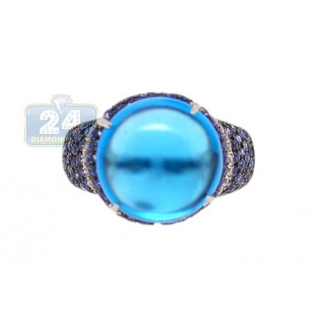 14K White Gold 11.05 ct Topaz Sapphire Diamond Womens Cocktail Ring