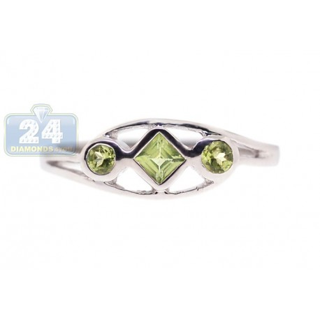 925 Sterling Silver 0.29 ct 3 Stone Green Peridot Womens Ring