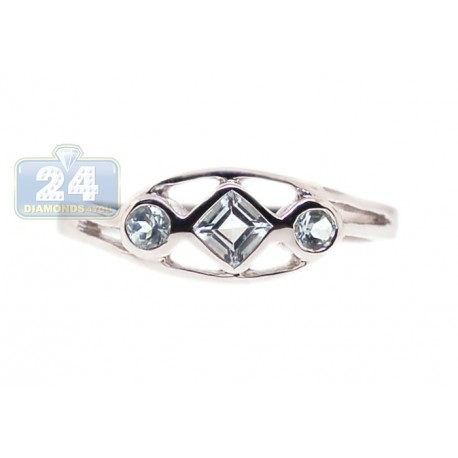 925 Sterling Silver 0.34 ct Blue Topaz 3 Gemstone Womens Ring