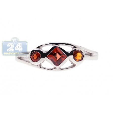 925 Sterling Silver 0.34 ct Garnet Gemstone Womens Ring