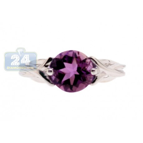 925 Sterling Silver 2.25 ct Purple Amethyst Womens Woven Ring