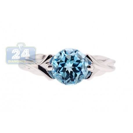 925 Sterling Silver 3 ct Blue Topaz Solitaire Womens Woven Ring