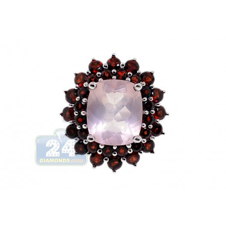 925 Sterling Silver 9.55 ct Rose Quartz Garnet Womens Cocktail Ring
