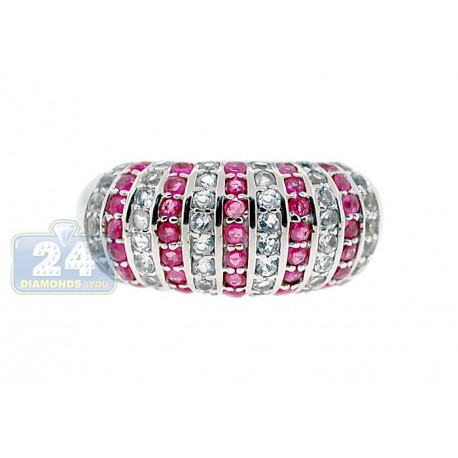 925 Sterling Silver 2.43 ct Red Ruby Topaz Womens Dome Ring