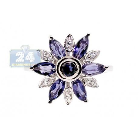 925 Sterling Silver 1.42 ct Iolite Topaz Womens Flower Ring