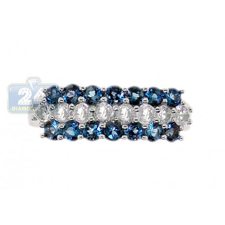 925 Sterling Silver 1.76 ct 3 Row Blue White Topaz Womens Band Ring