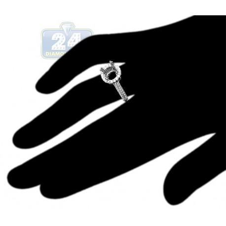 18K White Gold 0.86 ct Diamond Halo Engagement Ring Setting