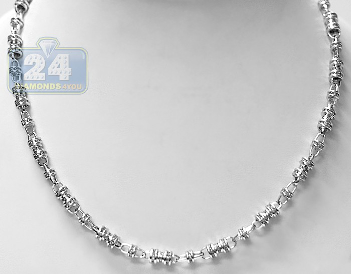 14k white gold 1456 ct diamond mens chain necklace aloadofball Images