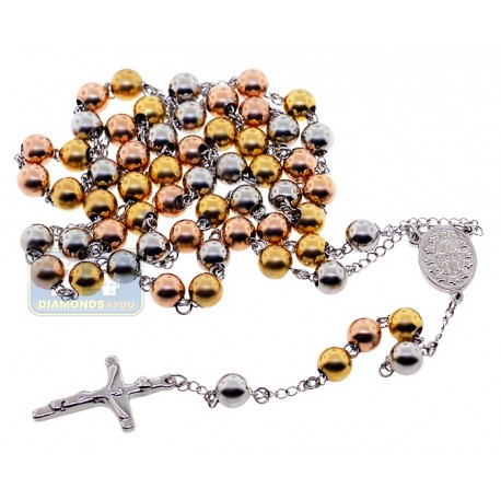 Three Tone Stainless Steel Mens Rosary Necklace 22 3/8 Inches