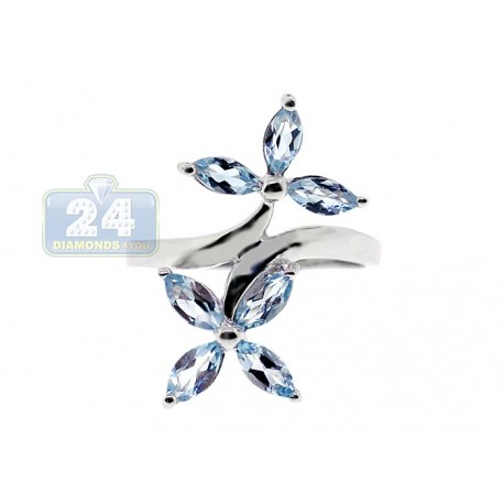 925 Sterling Silver 1.42 ct Iolite Topaz Womens Double Flower Ring