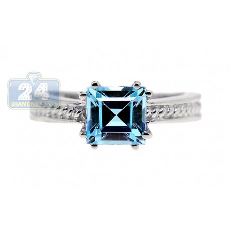 925 Sterling Silver 2.16 ct Asscher Blue Topaz Solitaire Womens Ring