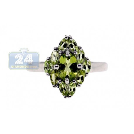 925 Sterling Silver 2.95 ct Green Peridot Womens Cluster Ring