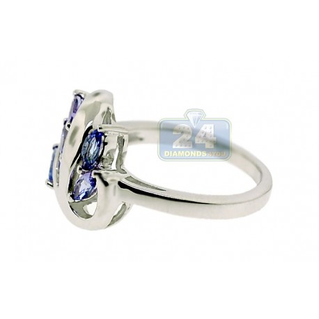 925 Sterling Silver 1.65 ct Marquise Cut Tanzanite Womens Leaf Ring