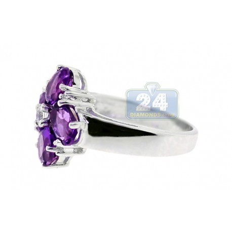 925 Sterling Silver 3.95 ct Purple Amethyst White Topaz Womens Flower Ring