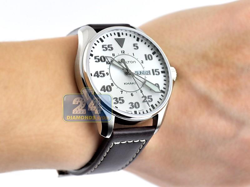 Hamilton Khaki Aviation Pilot Quartz Mens Watch H64611555 82f9f3c493