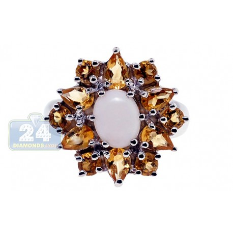925 Sterling Silver 2.70 ct White Opal Yellow Citrine Flower Ring